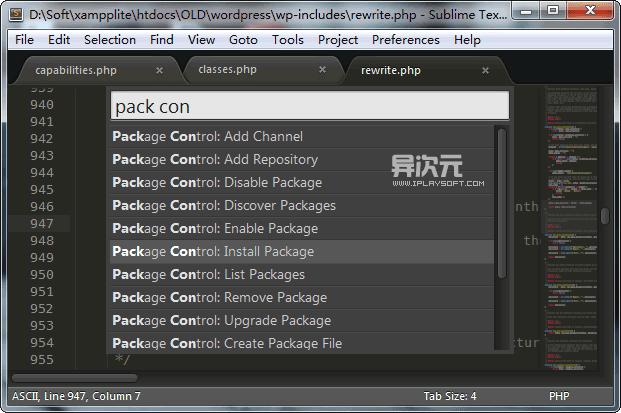 成功安装 Package Control 之后,在命令面板里会出现以其命名开头的一系列命令